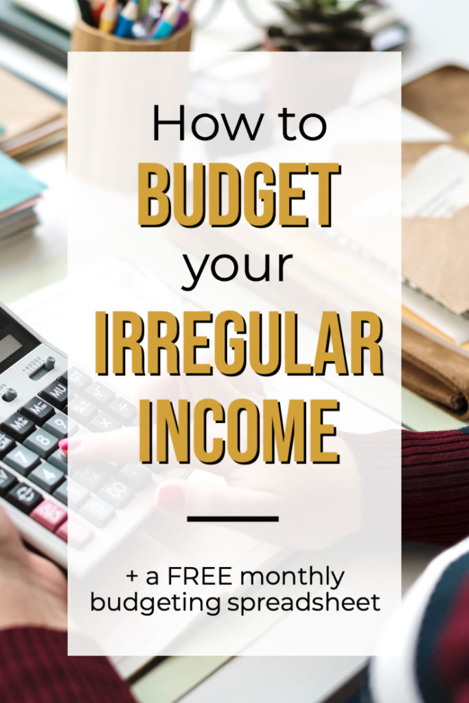 woman budgeting with calculator Pinterest image