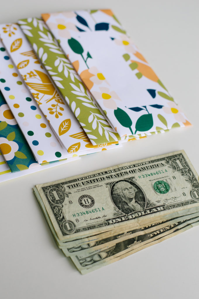 colorful cash envelopes with money