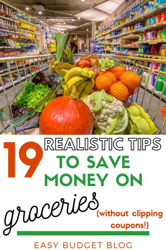 groceries in cart at store saving money
