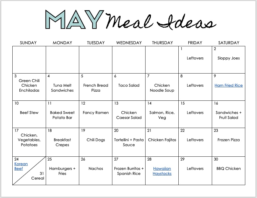 free monthly meal plan printable