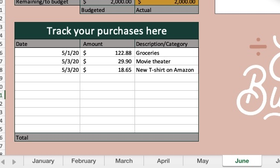 expense tracker on a free budget spreadsheet