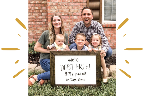 debt free family photo