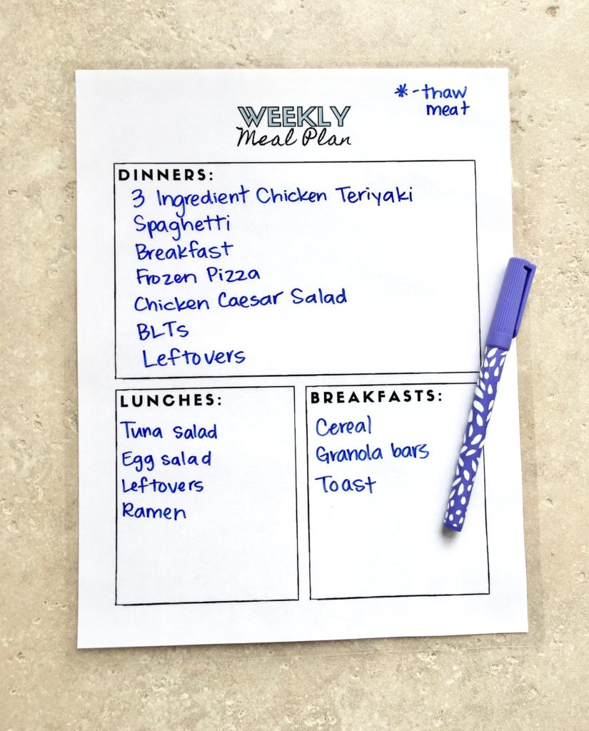 laminated weekly meal plan printable
