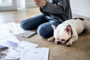 woman sitting with dog and debt bills