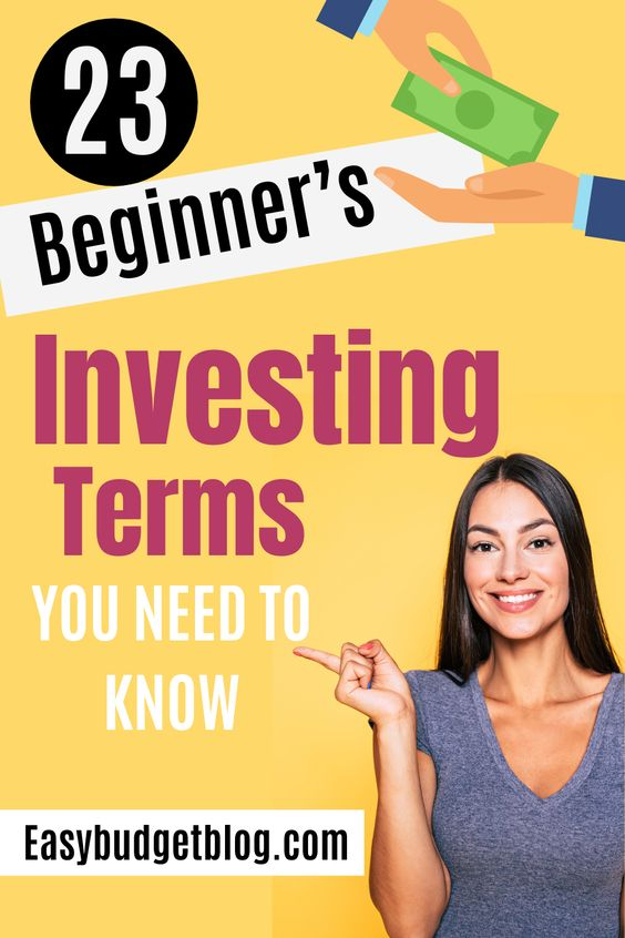 beginner investing terms pin image