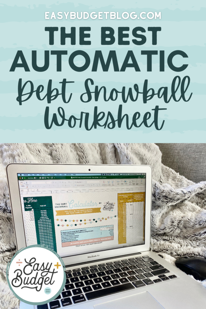 debt snowball spreadsheet calculator worksheet for excel or google sheets pin image